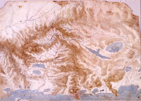 نقشه بالا مربوط به مرکز ایتالیا که توسط لئوناردو تهیه شده است
