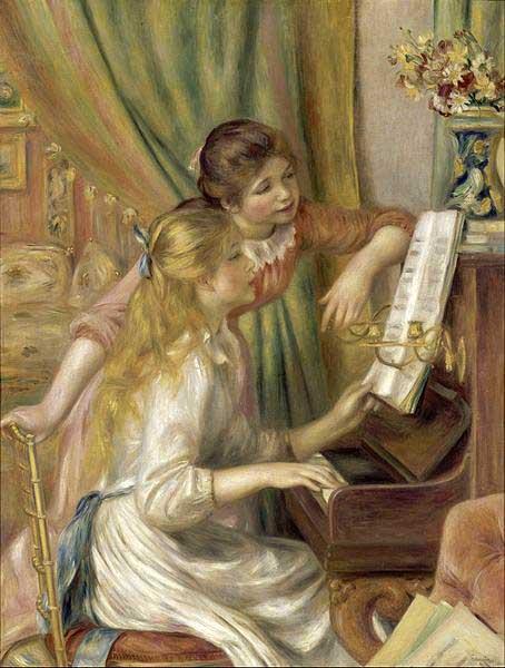 دختران جوان در مقابل پیانو