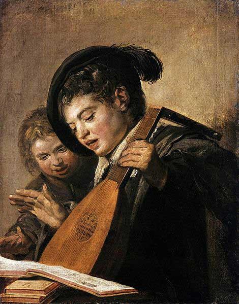 دو پسر آوازه خوان با عود و کتاب موسیقی