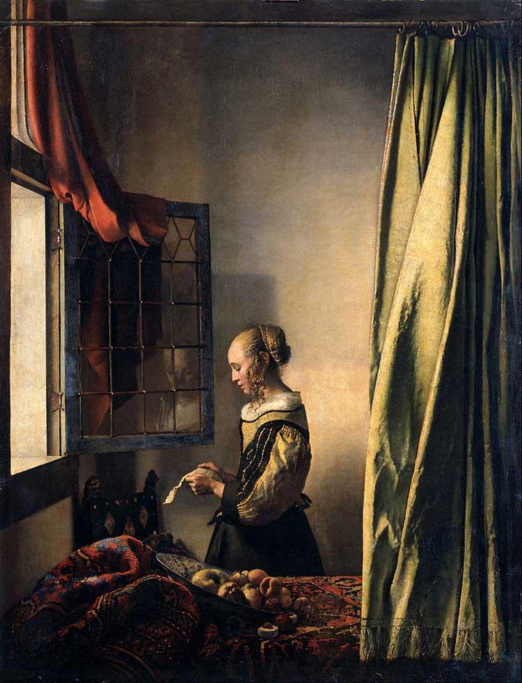 نقاشی ورمیر، دختر در مقابل پنجره باز نامه می خواند
