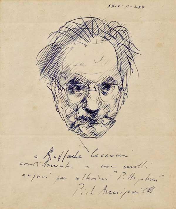 یک اسکیس و طراحی یادداشتی از پیترو انی گونی