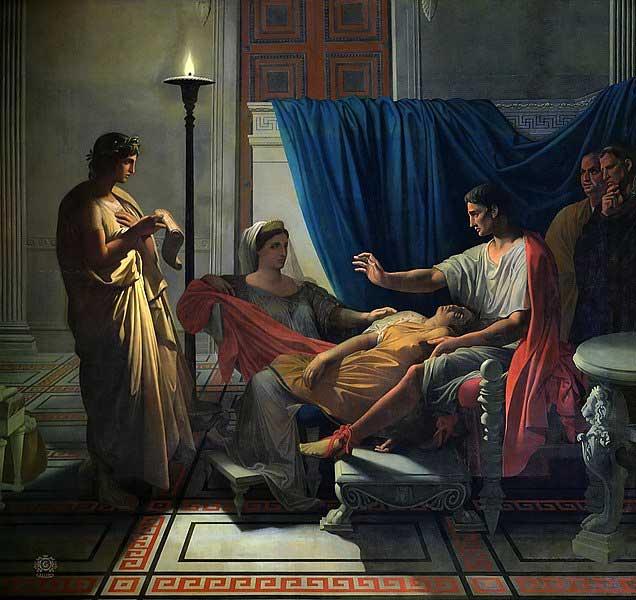 ویرجیل قبل از آگوستوس، لیویا و اوکتاویا کتاب انید را می خواند