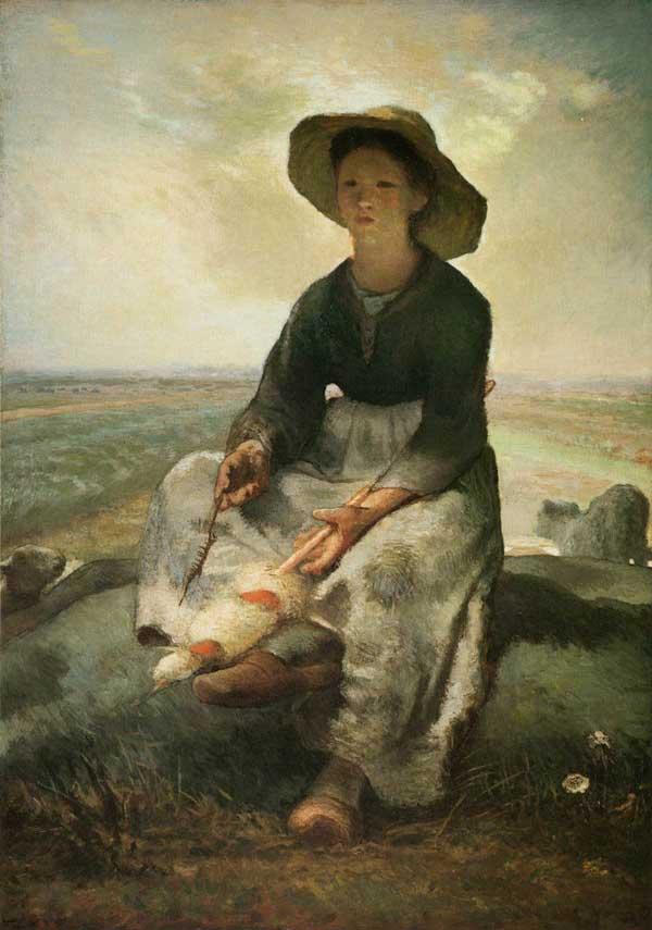 نقاشی چوپان زن جوان اثر فرانسوا میله