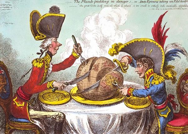 یکی از مشهور ترین کاریکاتورهای سیاسی اجرا شده توسط جیمز گیلری قرن هجدهم