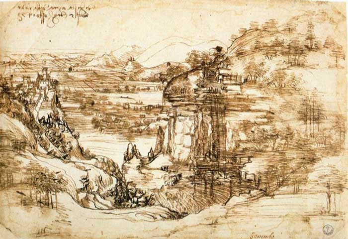اولین طراحی منتسب به داوینچی ، منظره رودخانه