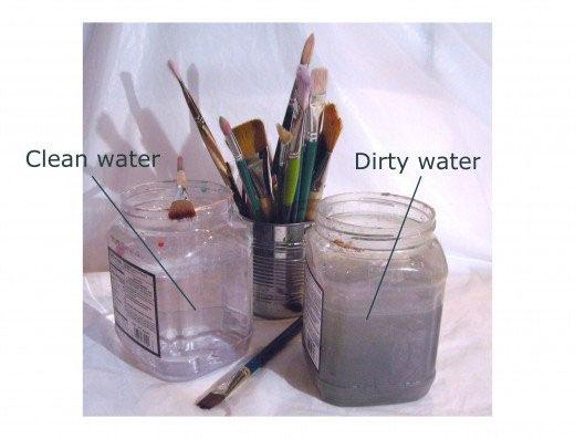 ظروف آب لازم برای نقاشی اکریک