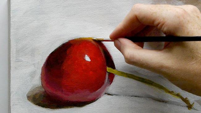 یک نقاشی از میوه با رنگ اکریلیک