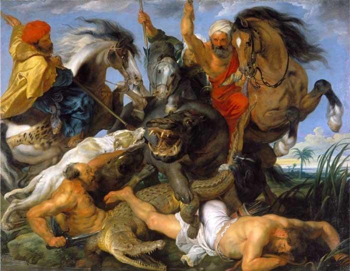 شکار اسب آبی و کروکودیل