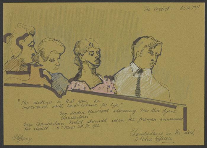 یک اسکچ از دادگاه چمبرلین