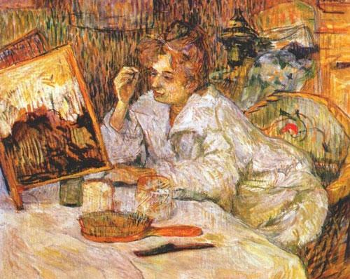 یکی از آثار لوترک که در آن زنی در حال آرایش میباشد
