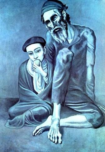 مرد نابینا و دختر -  دوره آبی پیکاسو