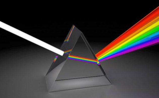 وقتی نور سفید از یک منشور شیشه ای عبور می کند به رنگهای قابل تفکیک تبدیل می گردد