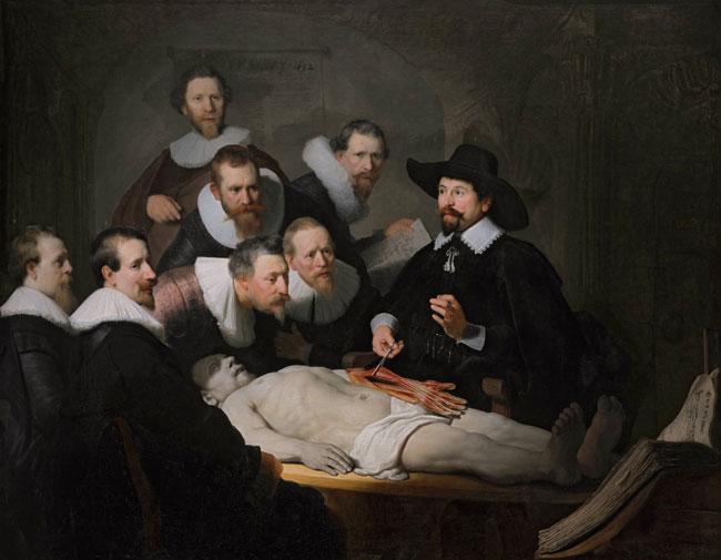 کلاس درس آناتومی اثر رامبراند در استودیوی متعلق به اولنبرگ