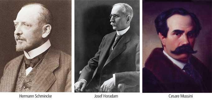 از راست به چپ: چزاره موسینی، ژوزف هورادام، هرمان اشمینکه