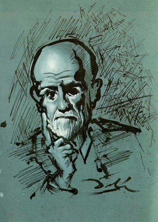 طراحی پرتره فروید توسط دالی