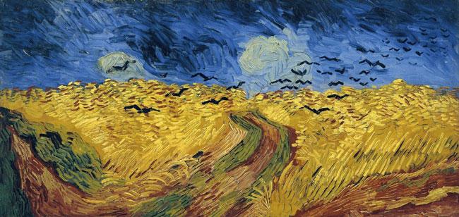 تابلوی «گندمزار با کلاغها» که در ژوئیه ۱۸۹۰ کشیده شده اثر ون گوگ