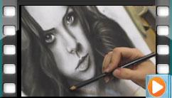 طراحی چهره با ذغال طراحی و مداد کنته