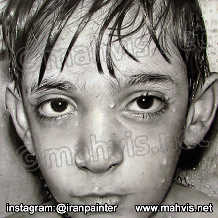 نقاشی سیاه قلم چهره