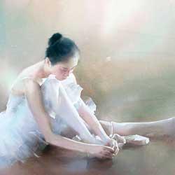 نقاشی آبرنگ بالارین اثر لیو یی