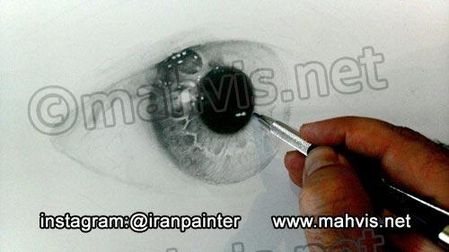 مرحله اول نقاشی چشم با مداد