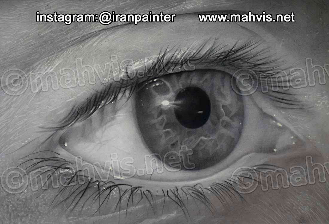 طراحی گام بگام چشم با مداد