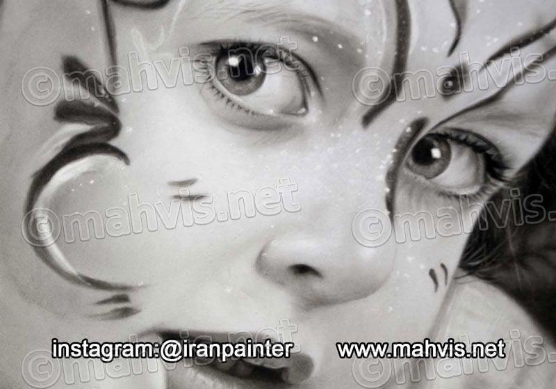 نقاشی با پودر ذغال و قلم مو