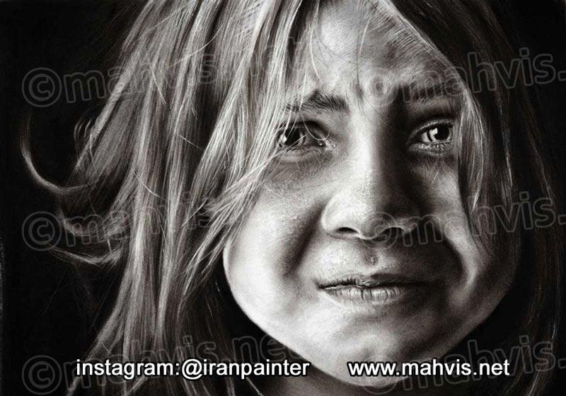 یک نقاشی سیاه قلم چهره در ایکاروس