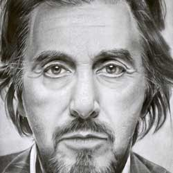 طراحی چهره آل پاچینو با مداد