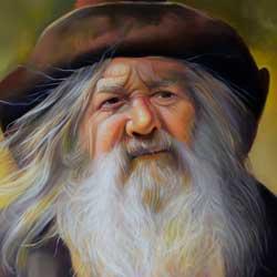 نقاشی چهره مرد پیر