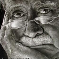 طراحی چهره پیرمرد با مداد