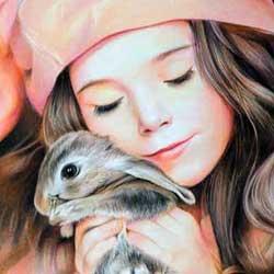 مداد رنگی چهره دختر و بچه خرگوش